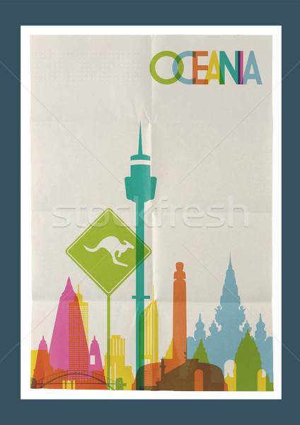 путешествия Океания Skyline Vintage плакат известный Сток-фото © cienpies