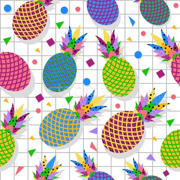 Retro vintage pineapple fruit 80s pattern backdrop Stock photo © cienpies