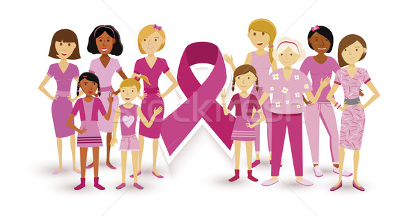 Stock photo: Breast cancer awareness women people ribbon united