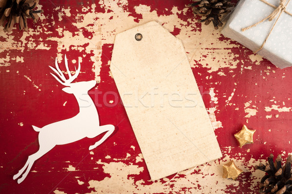 Christmas label top view vintage template backdrop Stock photo © cienpies