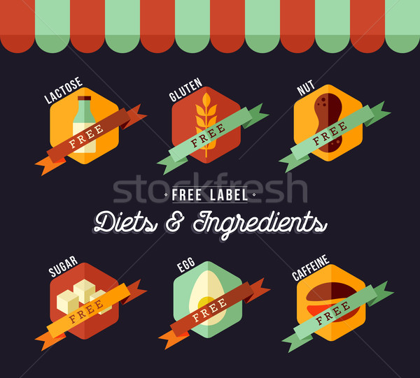 Grocery shop diet food labels for healthy eating Stock photo © cienpies