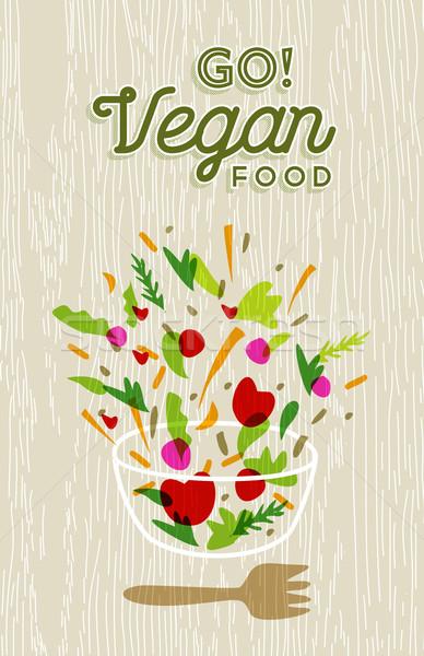 Vegetable salad preparation with vegan food label Stock photo © cienpies