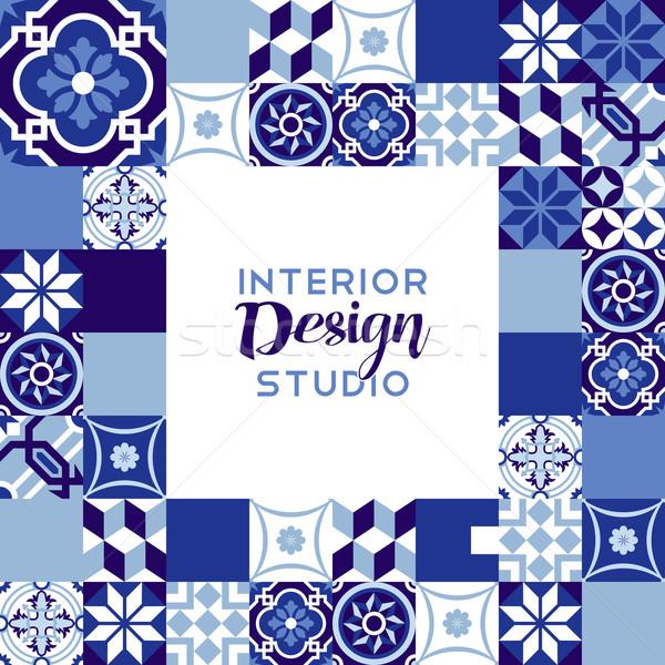 Interior design studio text with mosaic decoration Stock photo © cienpies