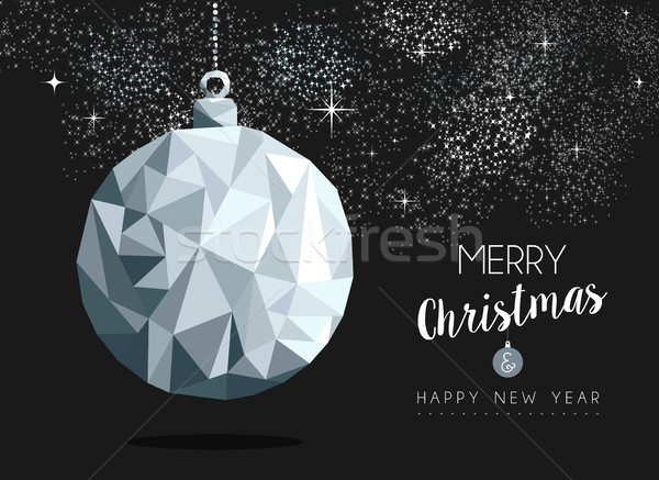 Christmas silver bauble ornament greeting card Stock photo © cienpies