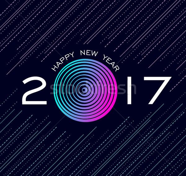 Happy new year soyut teknoloji dizayn tebrik kartı renkli Stok fotoğraf © cienpies