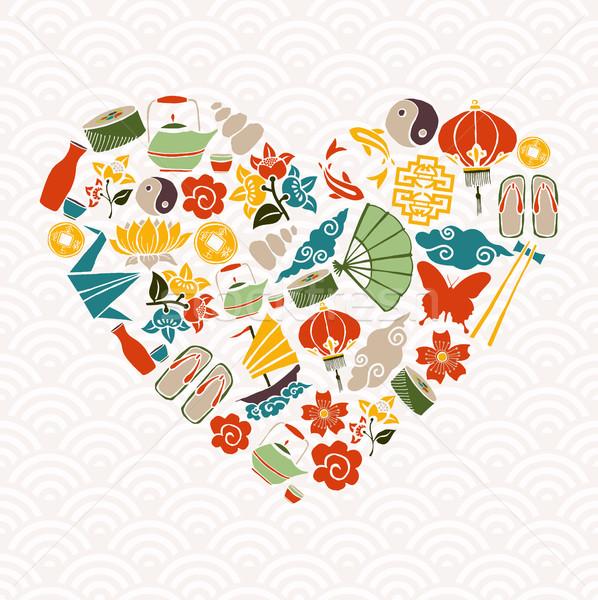 Китайский Новый год формы сердца икона украшение празднования любви Сток-фото © cienpies