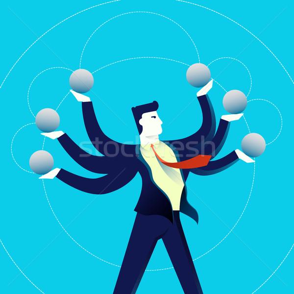 Business multitasking man concept illustration Stock photo © cienpies