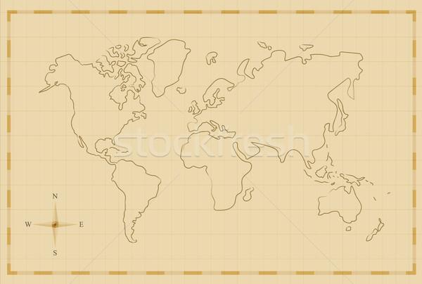 Vintage world map old hand drawn illustration art vector ...