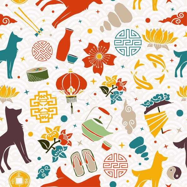 Китайский Новый год собака икона иллюстрация красочный Сток-фото © cienpies