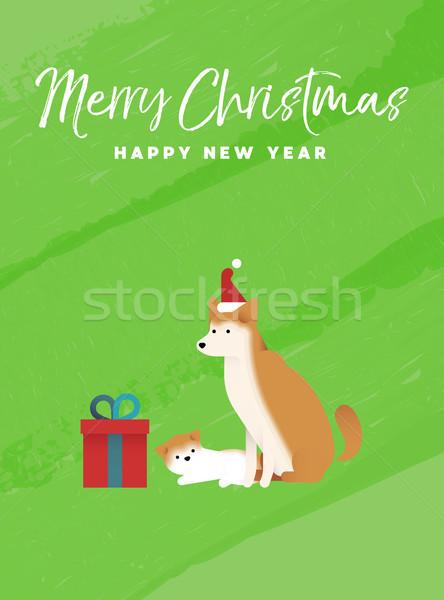Christmas and new year holiday shiba inu dog card Stock photo © cienpies