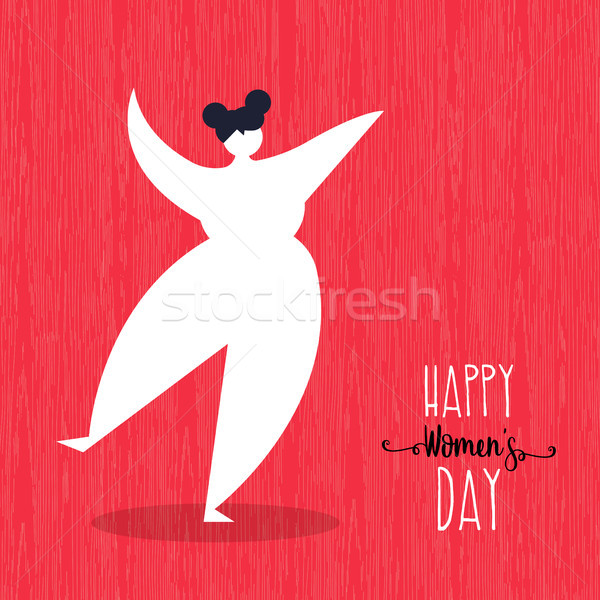 Stock photo: Happy Womens day card with dancing woman art