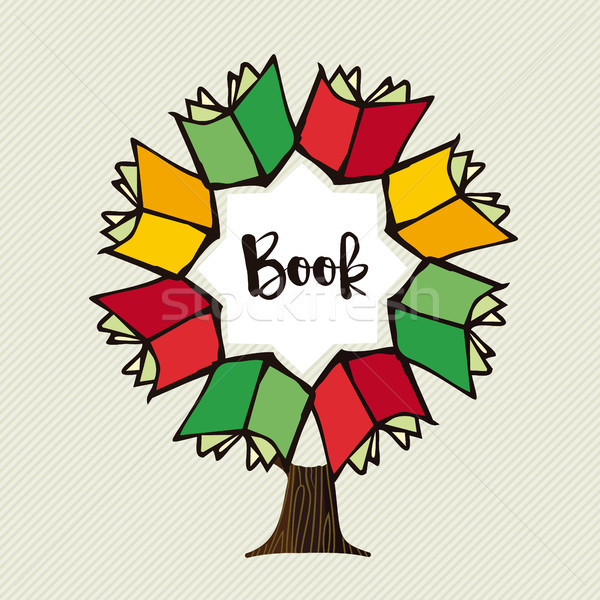 Book tree concept illustration for education Stock photo © cienpies