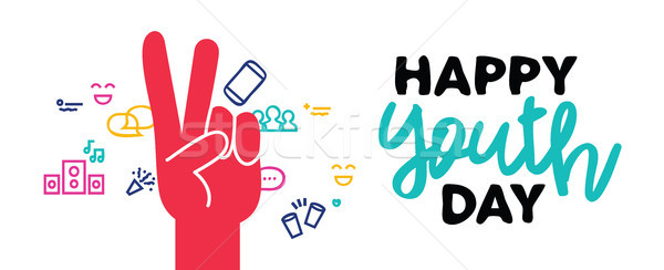 Happy youth day web banner peace hand sign Stock photo © cienpies
