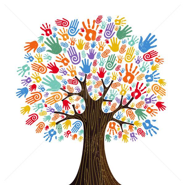 人の手 ツリー 文化 多様 カラフル 人間 ストックフォト © cienpies