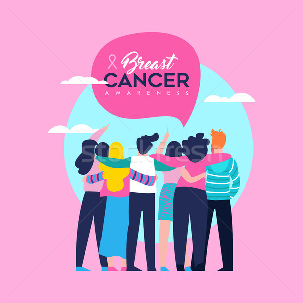 Breast Cancer Awareness card of friend group Stock photo © cienpies
