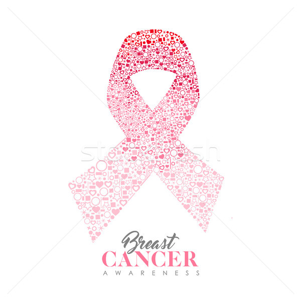 Breast Cancer Care card of pink ribbon icon shape  Stock photo © cienpies