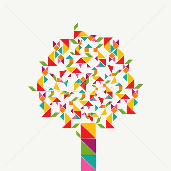 Geometri biçim ağaç renkli oyun simgeler Stok fotoğraf © cienpies
