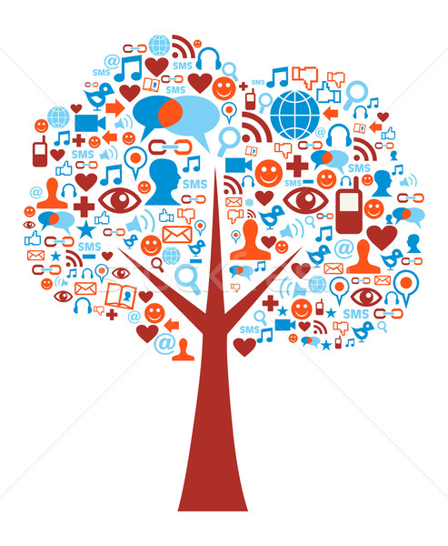 Social media icons set tree composition Stock photo © cienpies