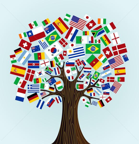 Vlaggen wereld boom landen deelnemers voetbal Stockfoto © cienpies