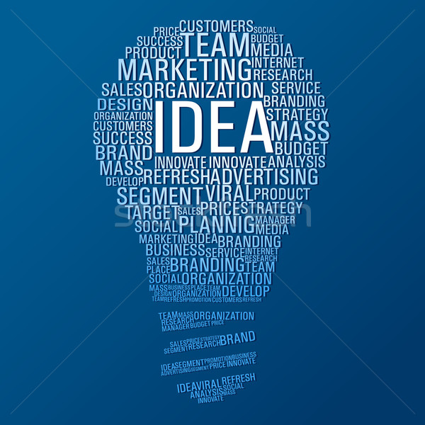 Marketing idée communication ampoule forme mots Photo stock © cienpies