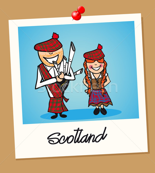 Scotland travel polaroid people Stock photo © cienpies