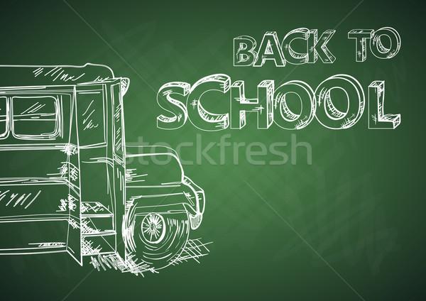 Vissza az iskolába busz oktatás tábla rajz eps10 Stock fotó © cienpies