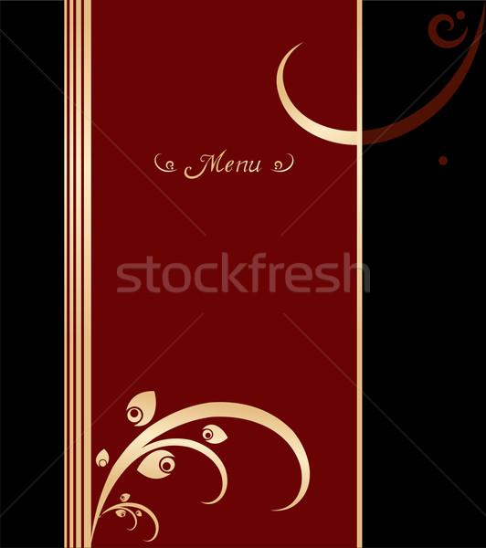 赤 金 黒 ヴィンテージ メニュー カバー ストックフォト © cienpies