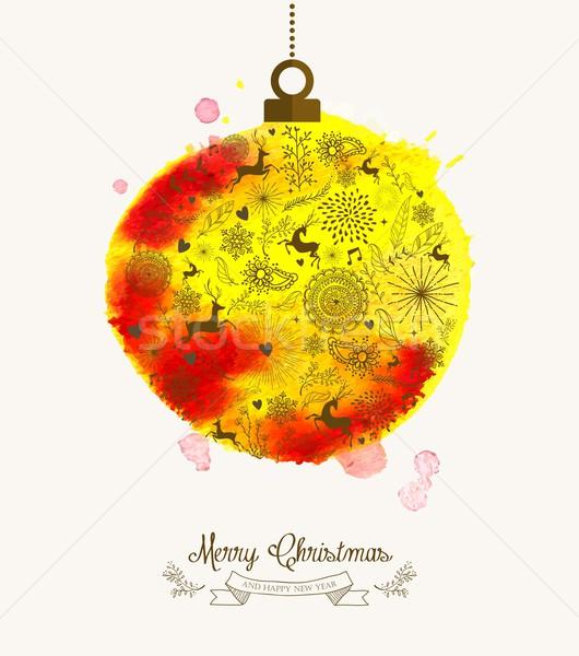 Noël babiole couleur pour aquarelle vintage carte dessinés à la main Photo stock © cienpies