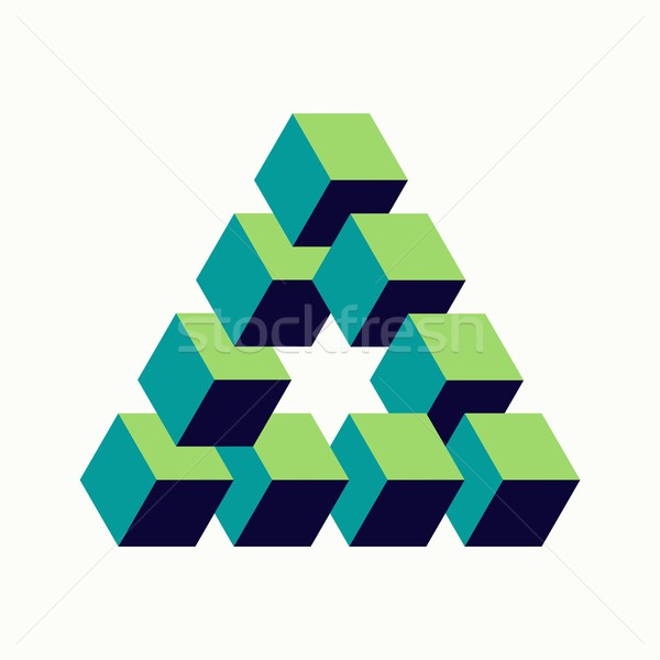 Impossible triangle sign isometric cubes shape Stock photo © cienpies
