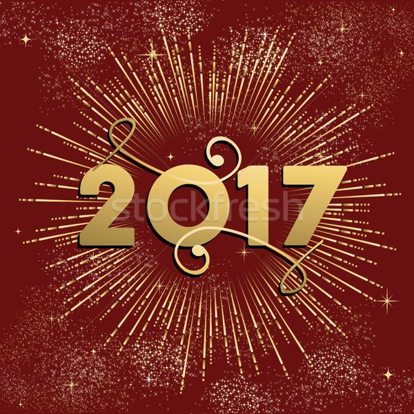 Boldog új évet tűzijáték terv arany robbanás illusztráció Stock fotó © cienpies