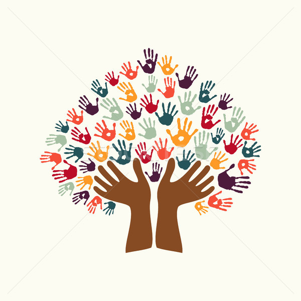 Hand print ethnic tree symbol of culture diversity Stock photo © cienpies