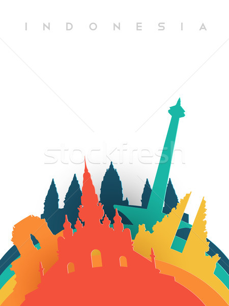 Travel Indonesia 3d paper cut world landmarks Stock photo © cienpies