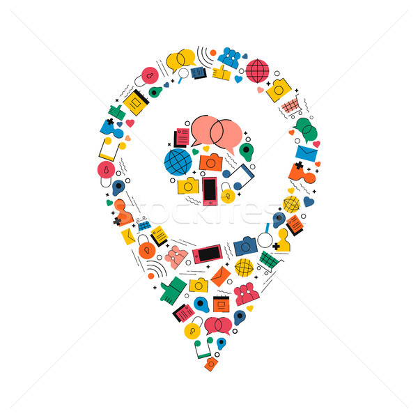 Medios de comunicación social GPS ubicación pin icono diseno Foto stock © cienpies