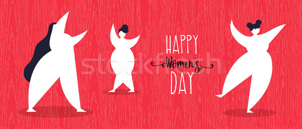Happy womens day web banner with girls dancing Stock photo © cienpies