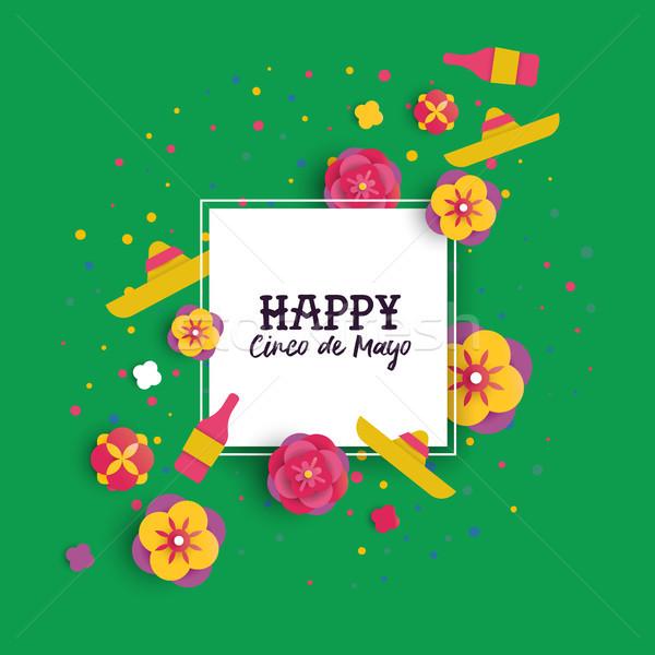 Cinco de Mayo paper cut flower frame greeting card Stock photo © cienpies
