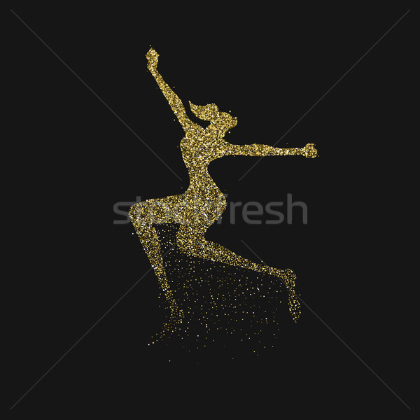 Gold glitter splash girl jumping silhouette Stock photo © cienpies