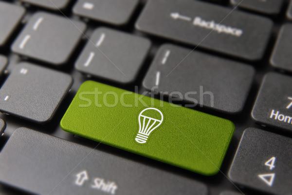 ストックフォト: グリーンエネルギー · 電球 · コンピュータのキーボード · 環境にやさしい · ボタン · 生態学的な