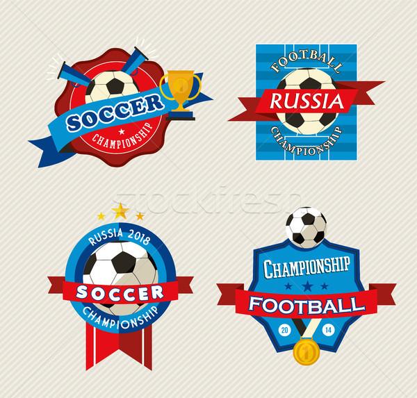 Russo calcio match evento etichetta set Foto d'archivio © cienpies