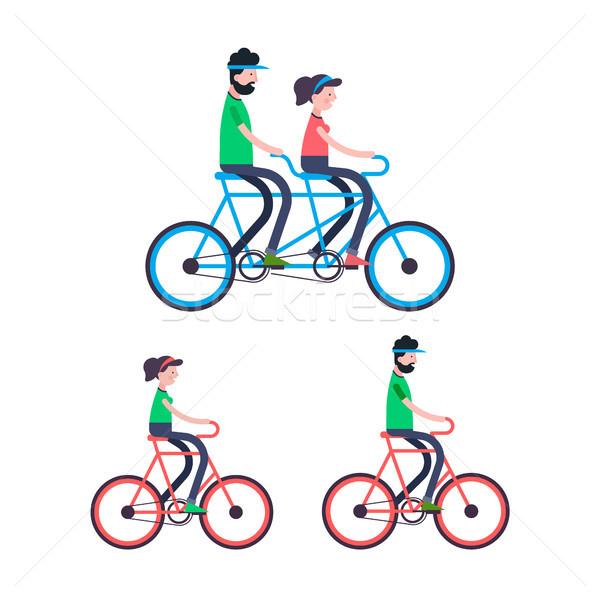 девушки мальчика пару верховая езда тандем велосипедов Сток-фото © cienpies
