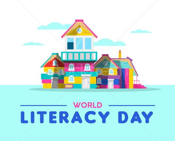 Happy Literacy Day book house card concept Stock photo © cienpies