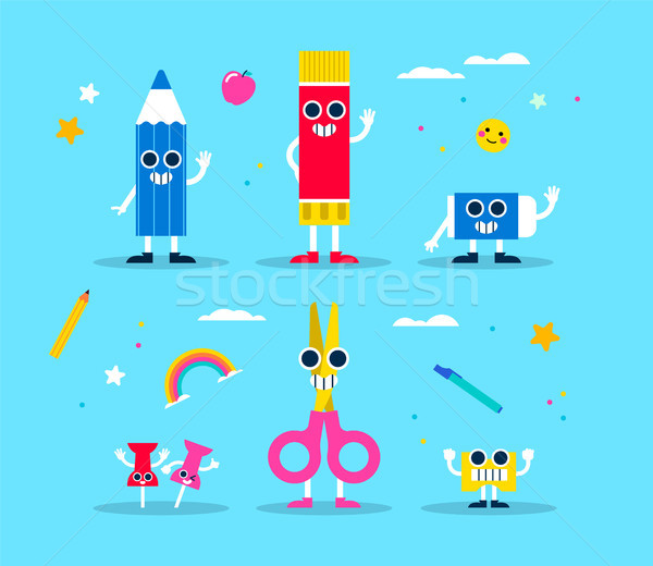 School supply funny character set for children Stock photo © cienpies