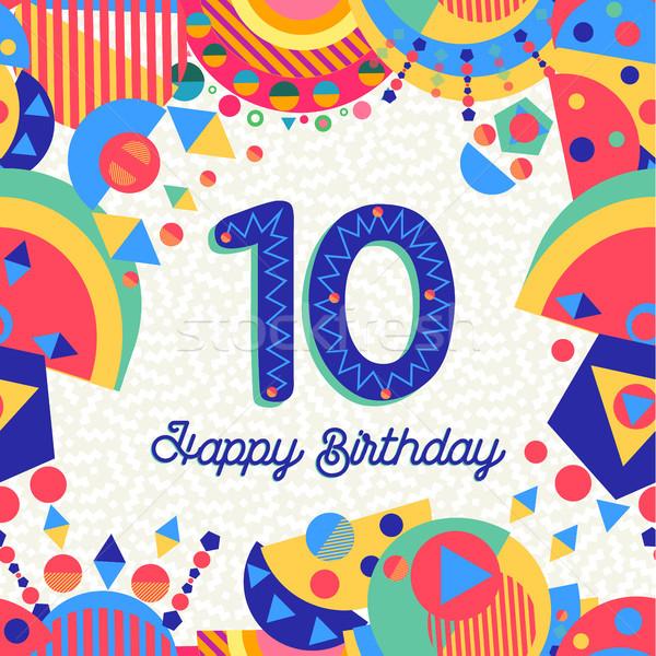 10 10 年 誕生日パーティー グリーティングカード 番号 ストックフォト © cienpies