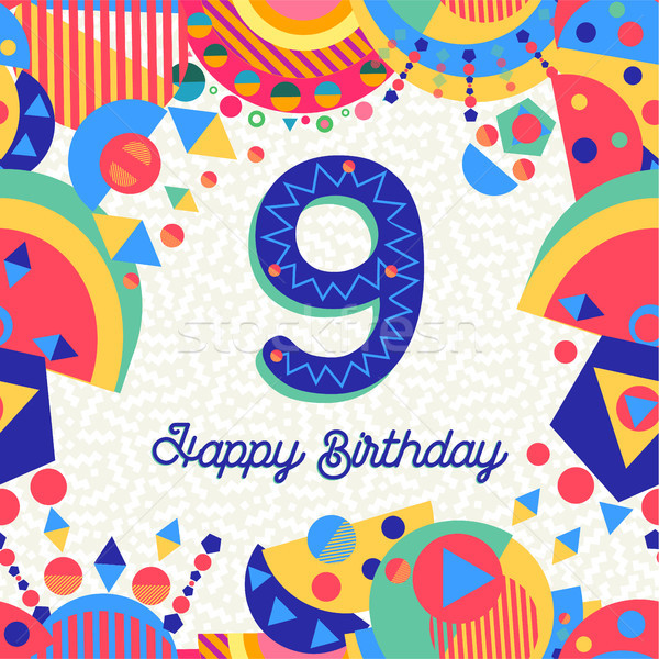 Nine 9 year birthday party greeting card number Stock photo © cienpies