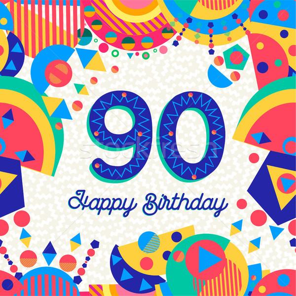 90 ninety year birthday party greeting card Stock photo © cienpies