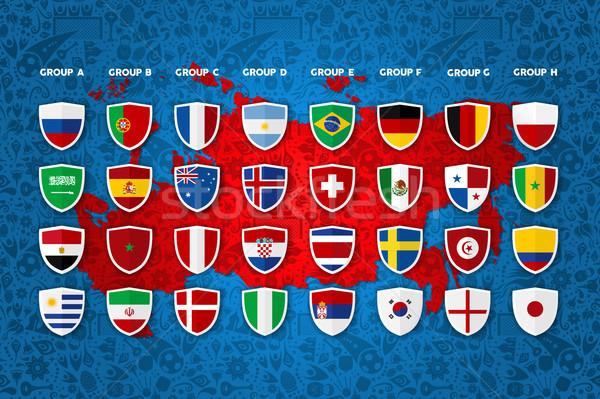 Футбол события стране группа шаблон дизайна Сток-фото © cienpies