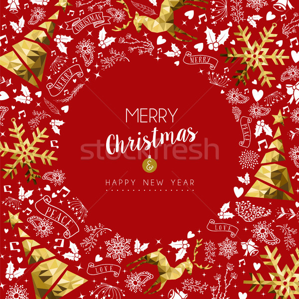 Merry christmas and new year greeting card Stock photo © cienpies