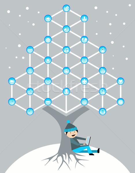 グローバル ソーシャルメディア ネットワーク ツリー 接続 クリスマス ストックフォト © cienpies
