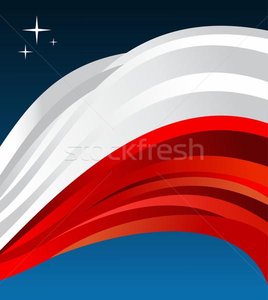 Pologne pavillon illustration bleu vecteur fichier Photo stock © cienpies