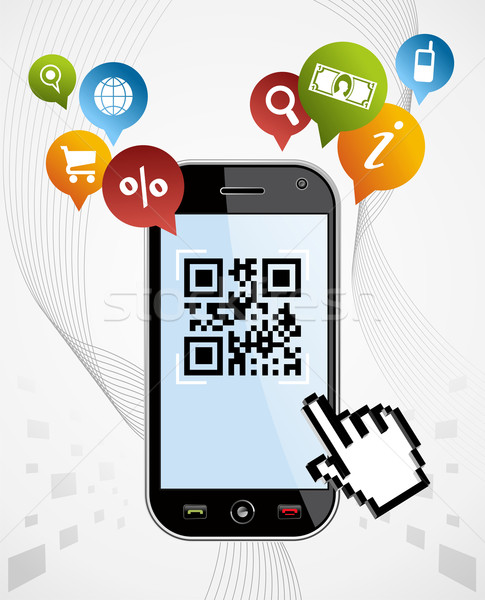 Smart Phone: QR code application vector illustration Stock photo © cienpies