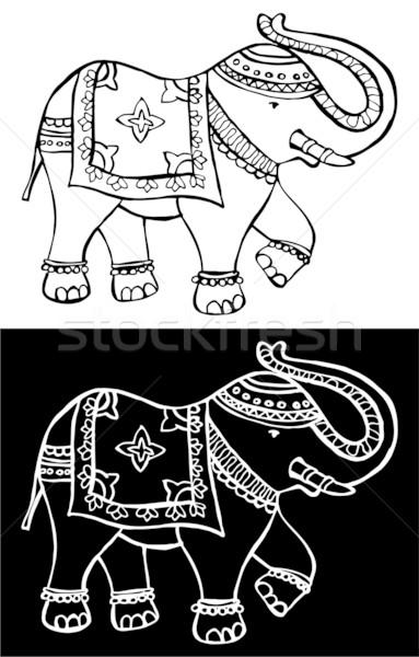 ünnepi tipikus indiai elefánt hagyományos díszített Stock fotó © cienpies